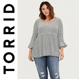 Torrid Striped Quarter Sleeve Babydoll Blouse